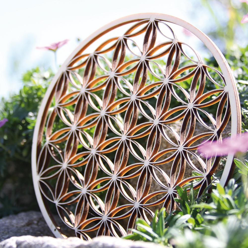 """,,Květ života"""" na zeď z břízového dřeva (Průměr 30 cm)"""