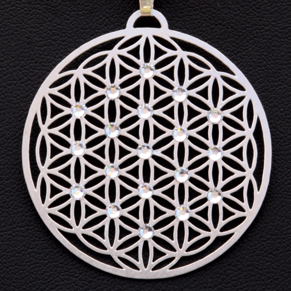 """Přívěsek ,,Květ života"""" postříbřený osazen 19ti Swarovski krystalami (Průměr 2,5 cm)"""