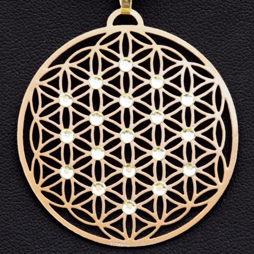"""Přívěsek ,,Květ života"""" pozlacený osazen 19ti Swarovski krystalami (Průměr 4 cm)"""