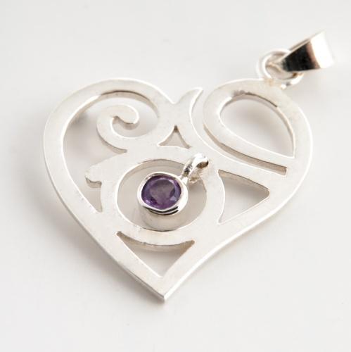 Spirituální láska přívěsek s ametystem stříbrný (Spirituální láska přívěsek s ametystem stříbrný - Stříbro Ag 925)