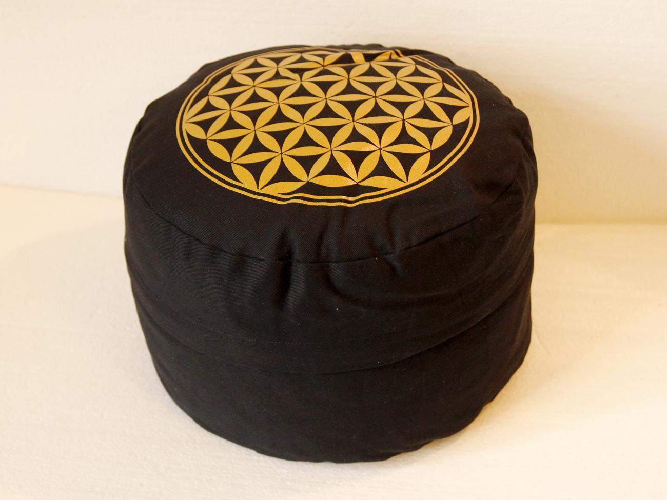 Květ života - Meditační polštář černý (Květ života - Meditační polštář černý)