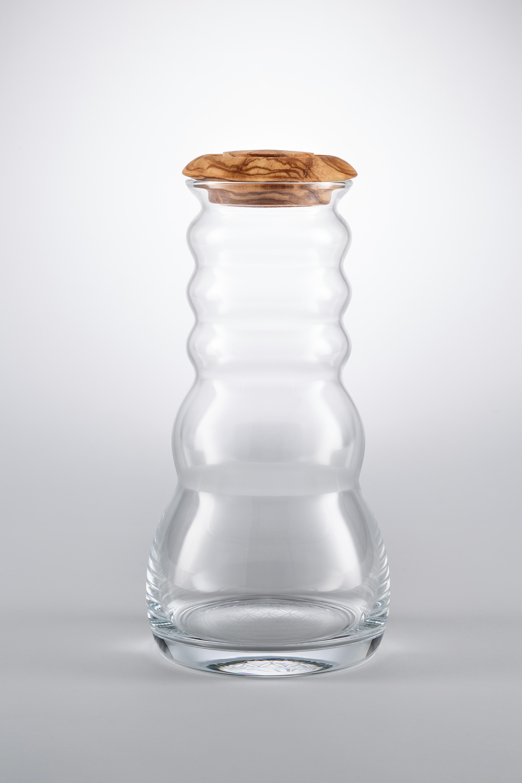 """Džbán Cadus 1 litr Olivové dřevo - """"Květ života"""" (s bílým květem života)"""